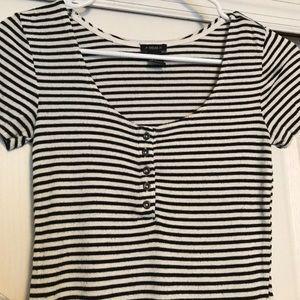 Forever 21 Striped Short Sleeve Shirt